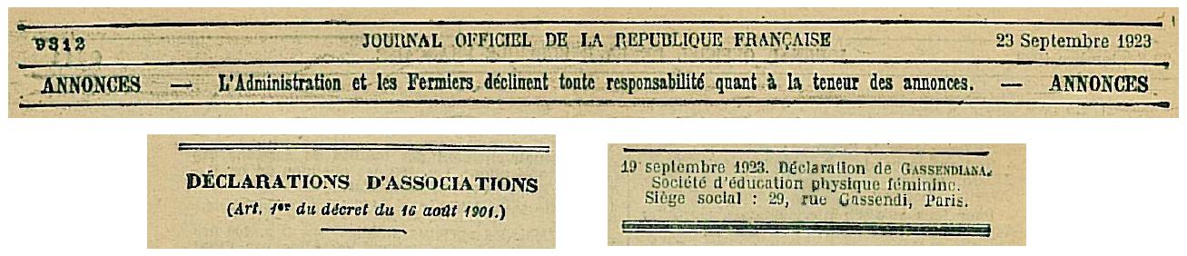 Extrait de la déclaration de la Gassendiana en 1923