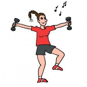 Dessin Gymnastique Adulte travail des bras avec des altères