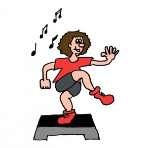 Dessin Gymnastique Adulte travail cardio sur step