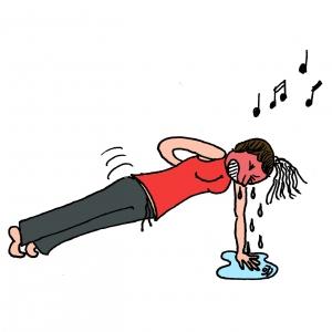 Dessin Gymnastique Adulte travail allongé des fessiers, abdominaux et gainage
